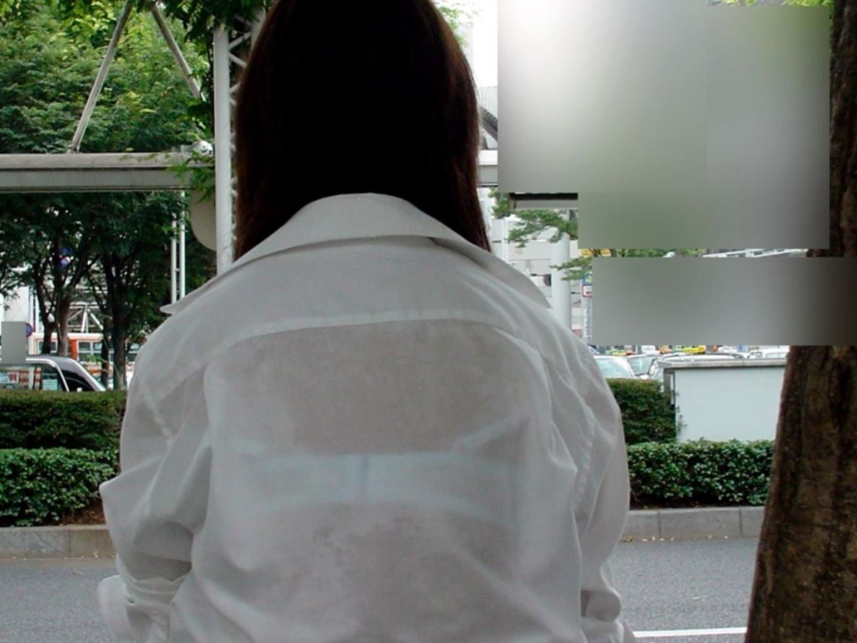 夏 ブラ透け JK 街撮り 透けブラ エロ画像 16