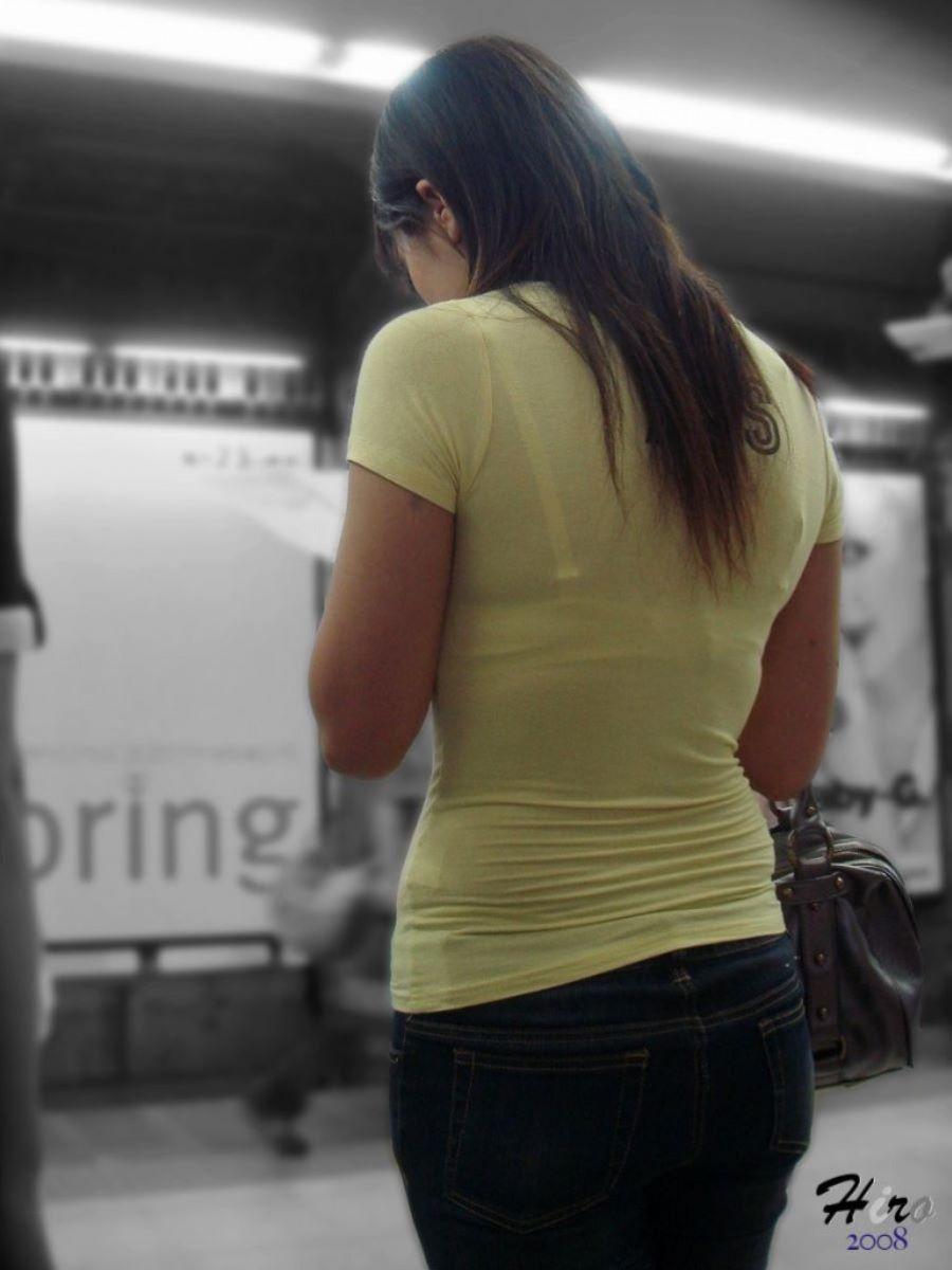 街撮り ブラ線 透けブラ 画像 64