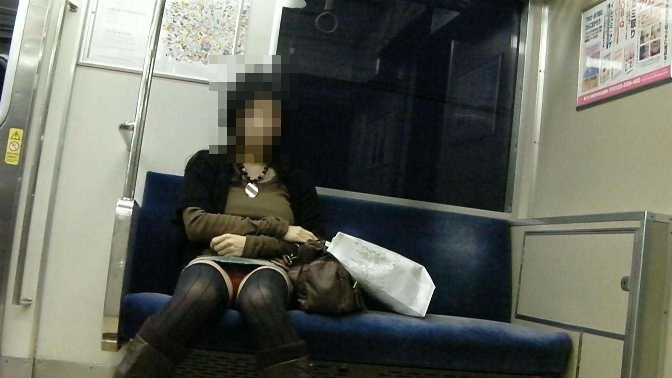 電車内の対面パンチラ画像 35