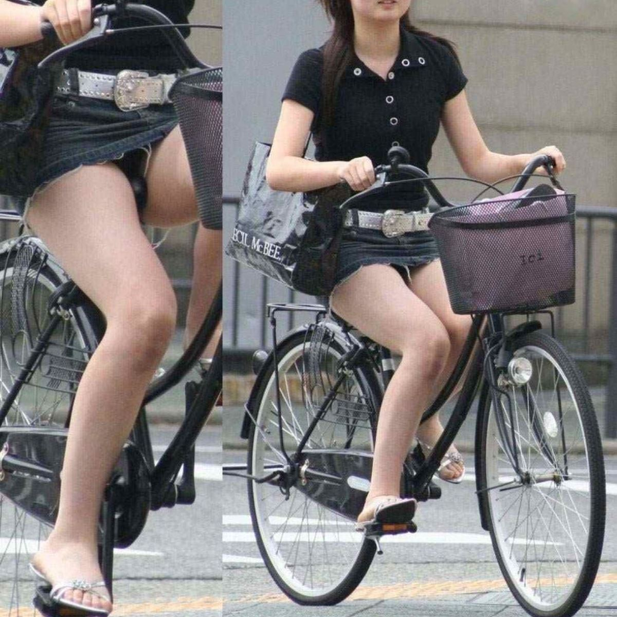 自転車 パンチラ デニム ミニ スカート エロ画像 37