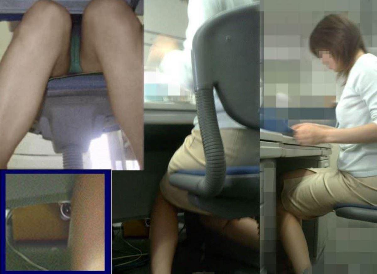 机の下 OL 足元 盗撮 美脚 パンチラ エロ画像 14