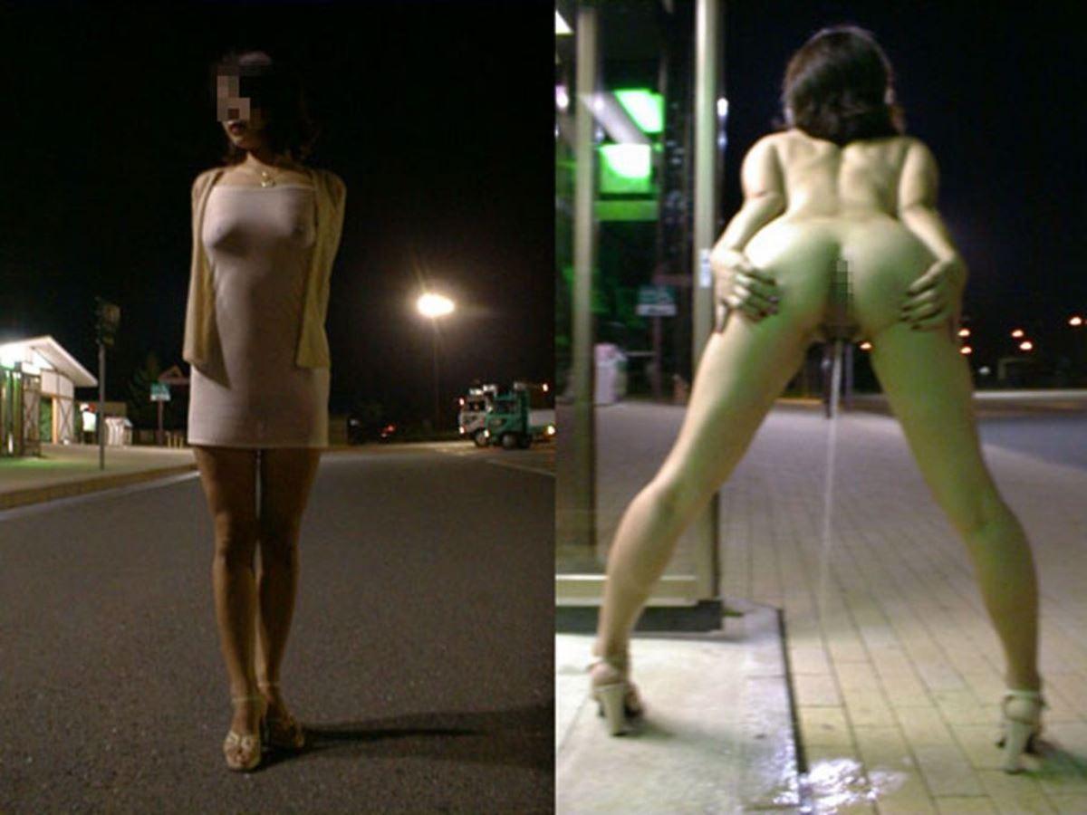 おしっ子を立ってやってる女の立ち小便画像 35