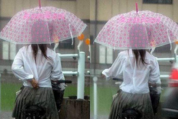 JK 雨 濡れる ブラジャー 透ける 濡れ透け エロ画像 1
