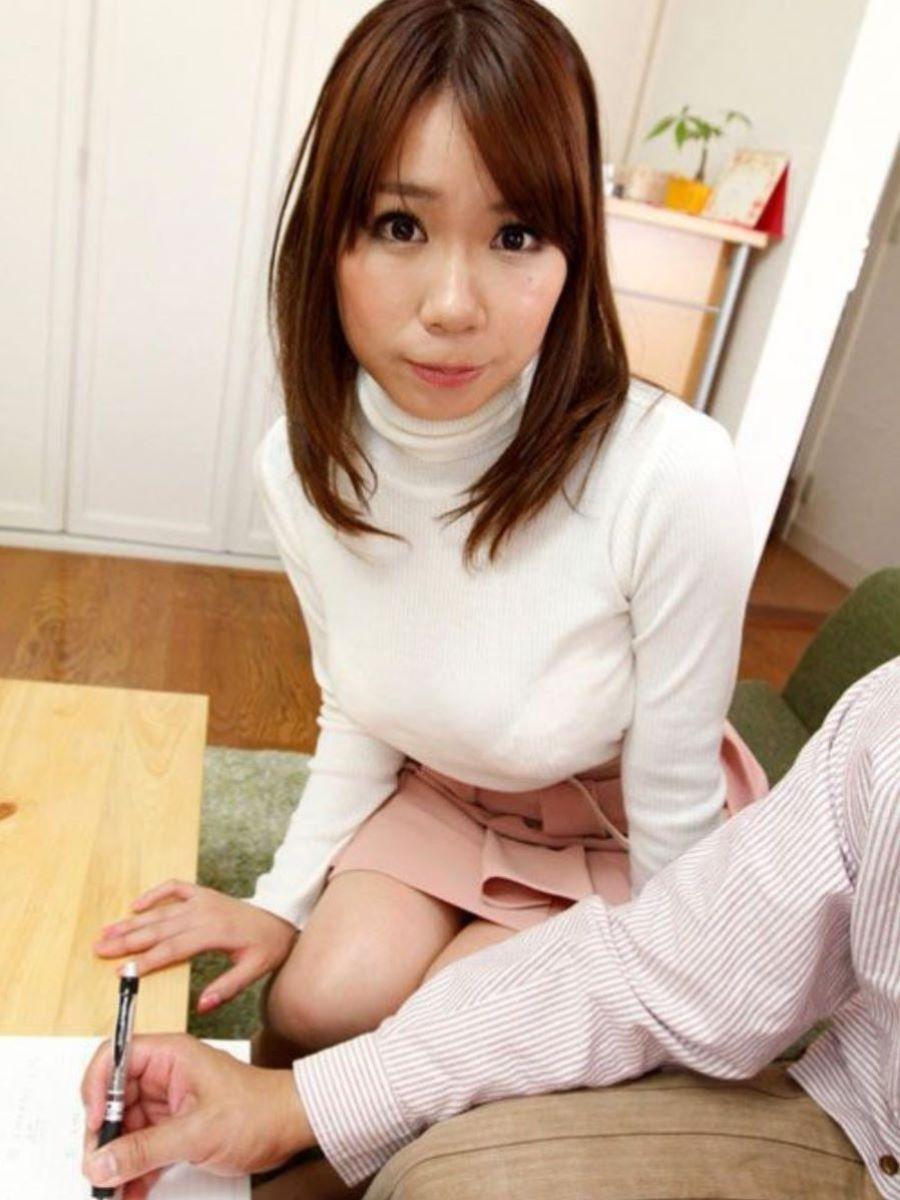 ニット 着衣巨乳 エロ画像 48