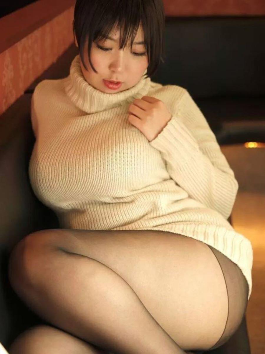 ニット 着衣巨乳 エロ画像 104