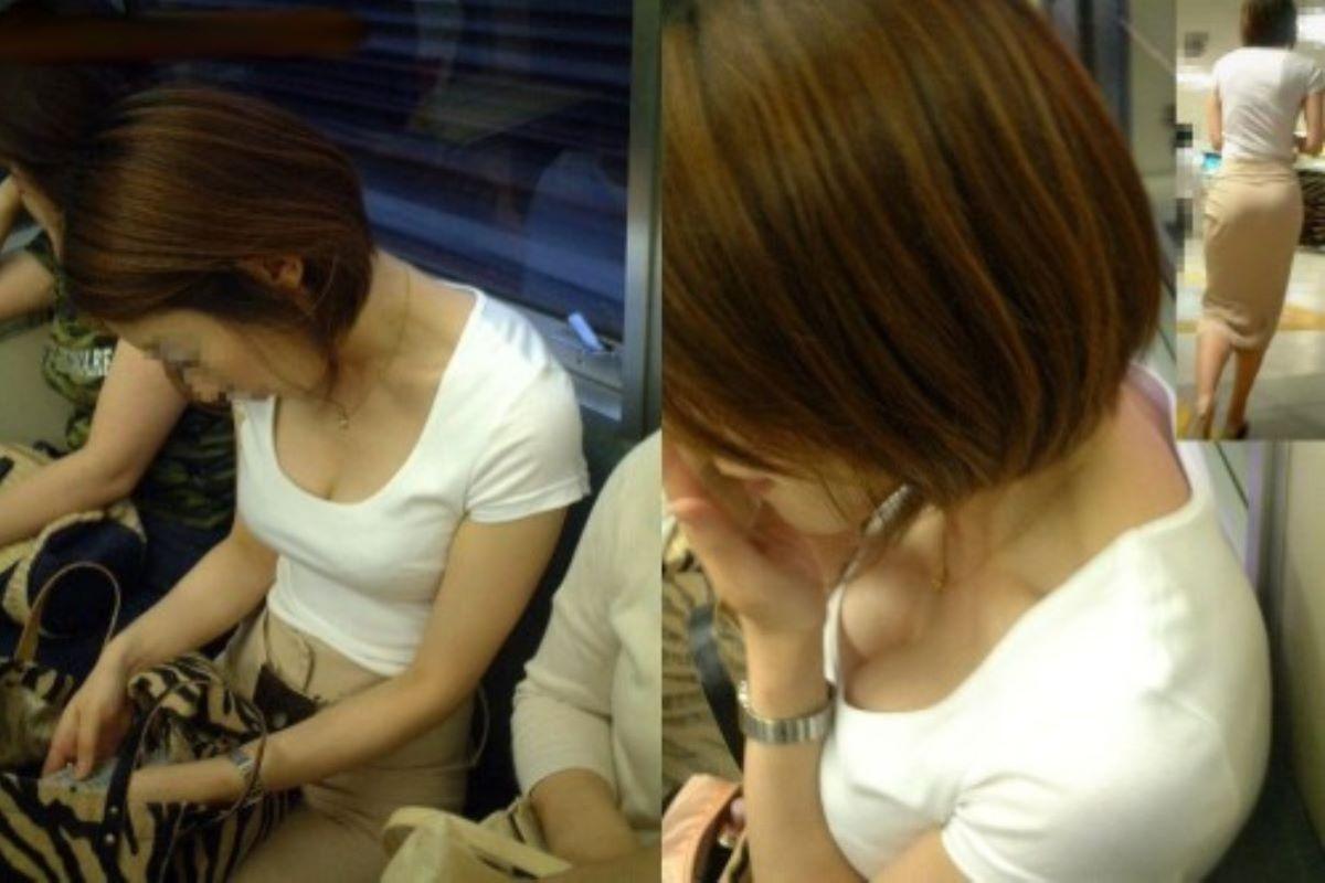 バス 電車 胸チラ画像 131