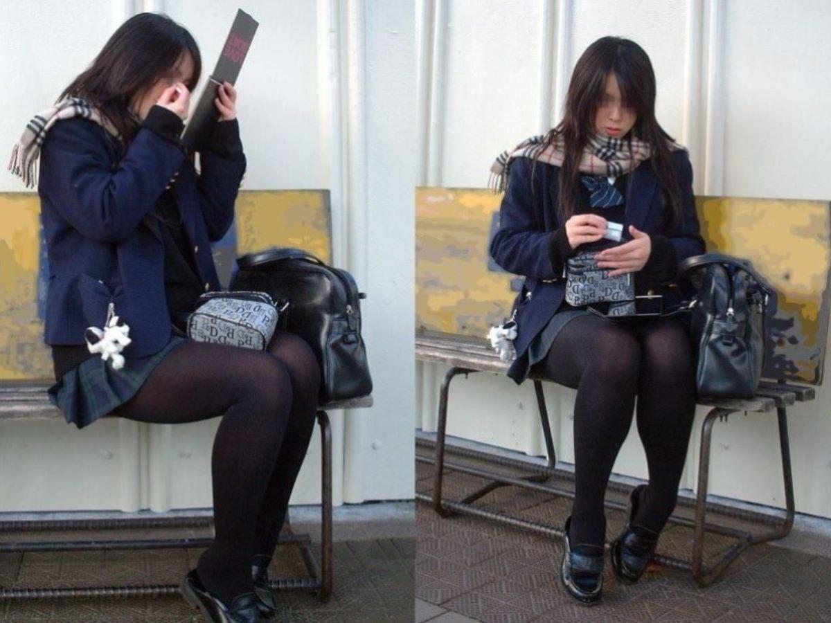 黒タイツ 黒パンスト JK画像 87