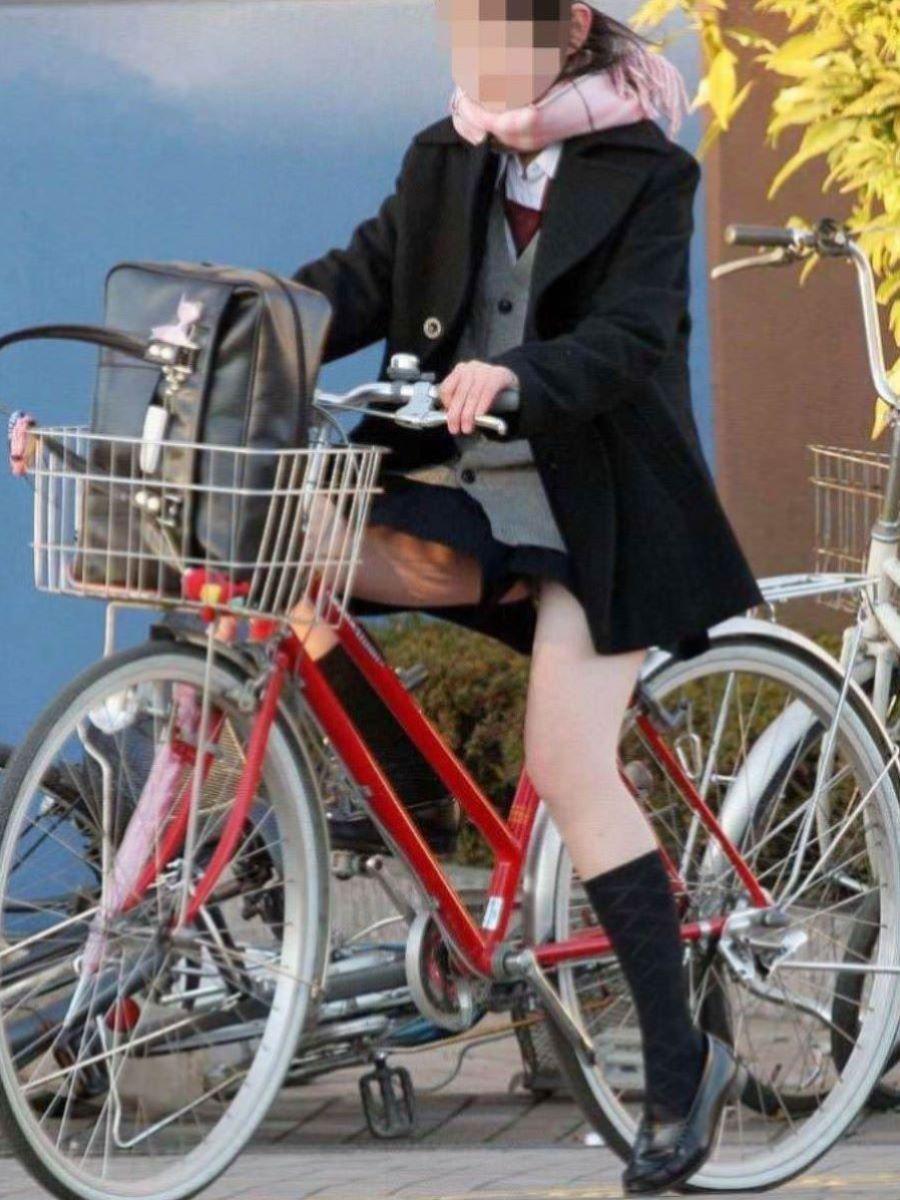 自転車通学 ミニスカ JK画像 14