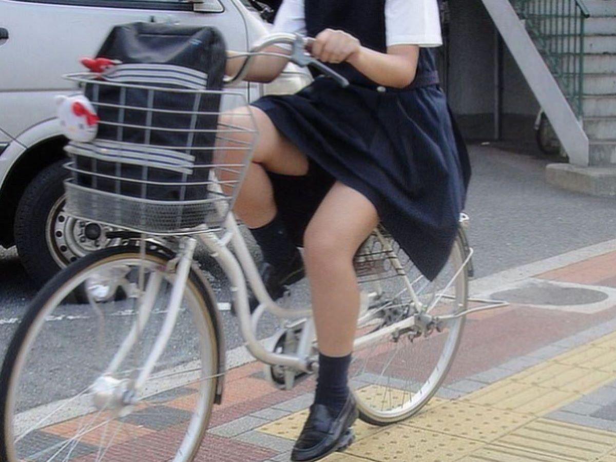 自転車通学 ミニスカ JK画像 19