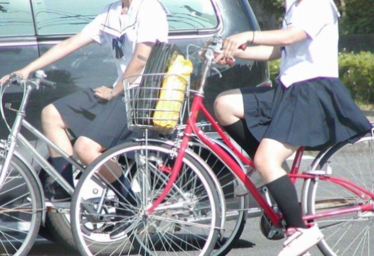 自転車通学 ミニスカ JK画像 24