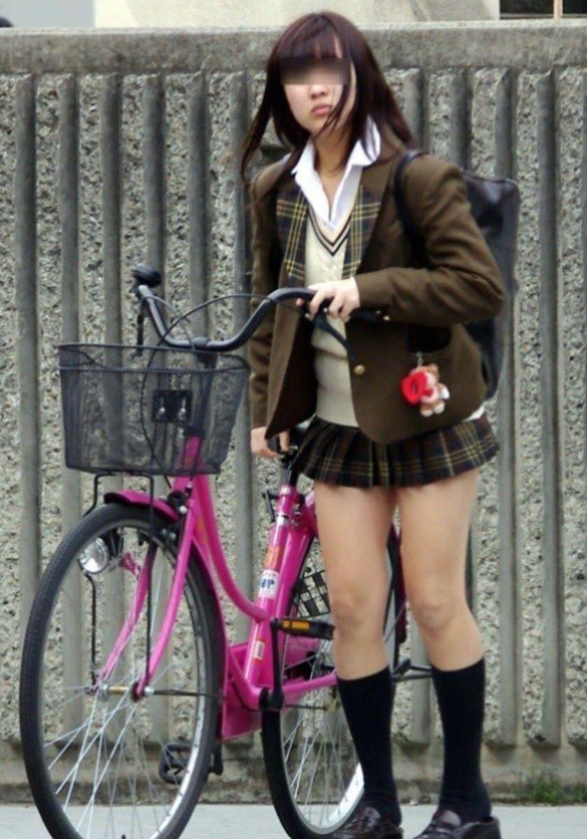 自転車通学 ミニスカ JK画像 26