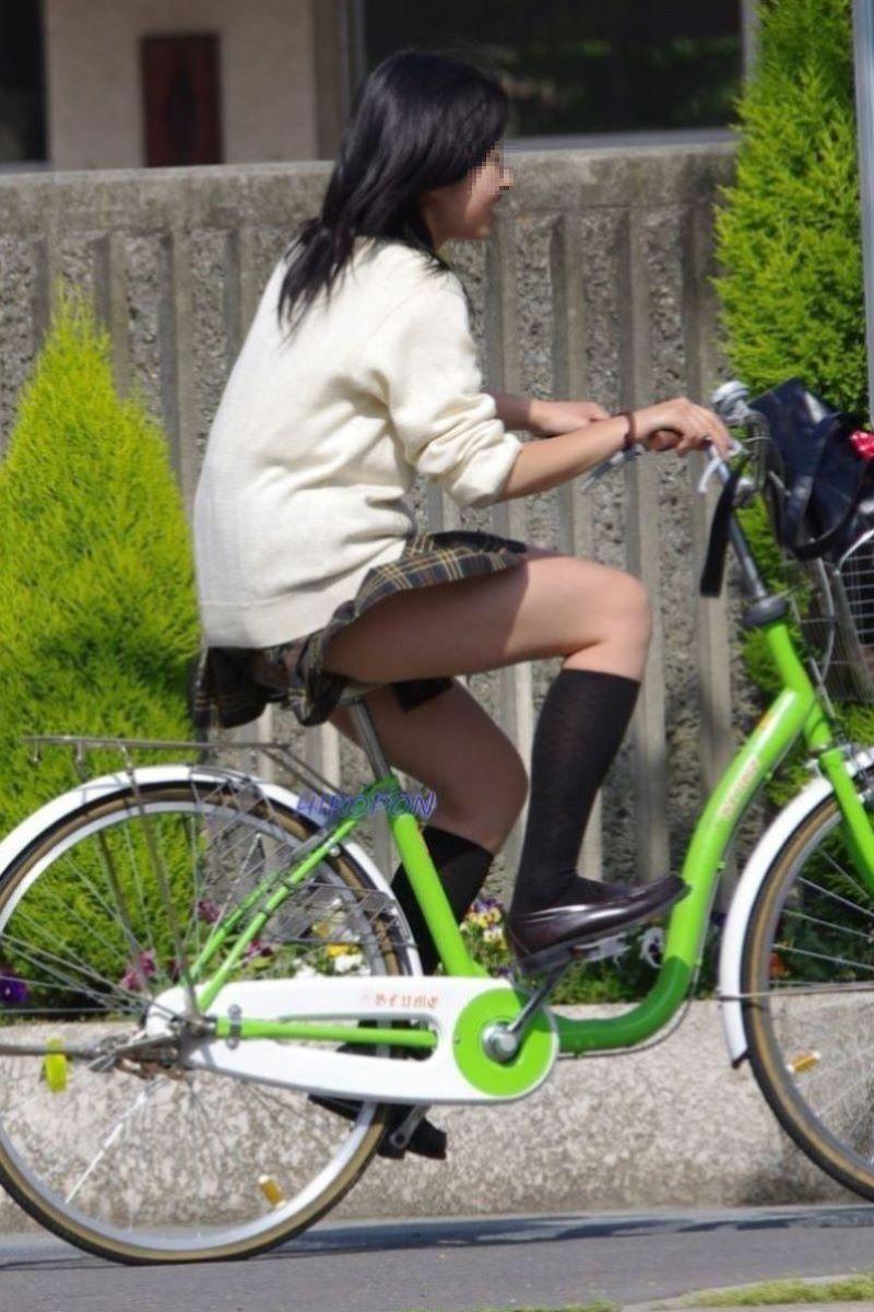 自転車通学 ミニスカ JK画像 27