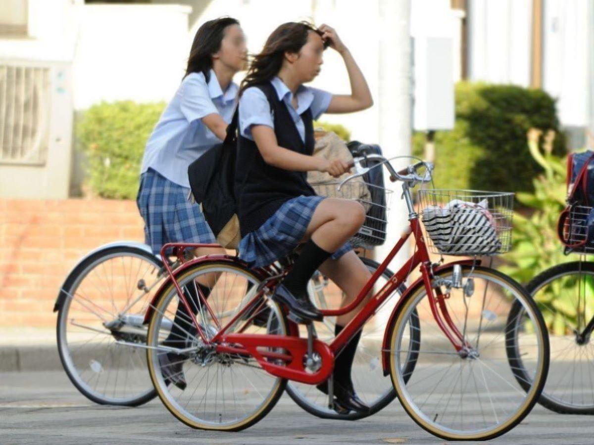 自転車通学 ミニスカ JK画像 28