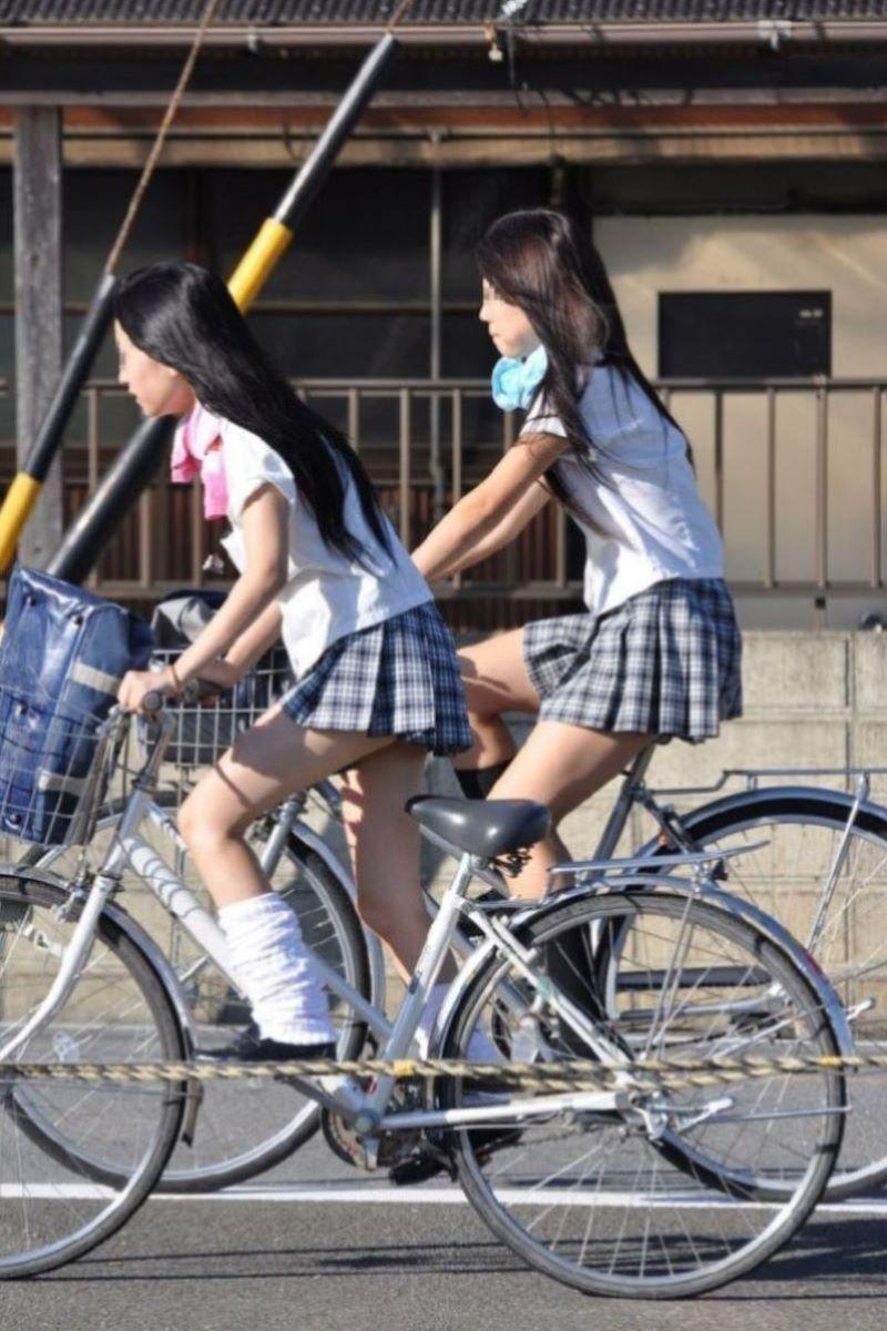 自転車通学 ミニスカ JK画像 29