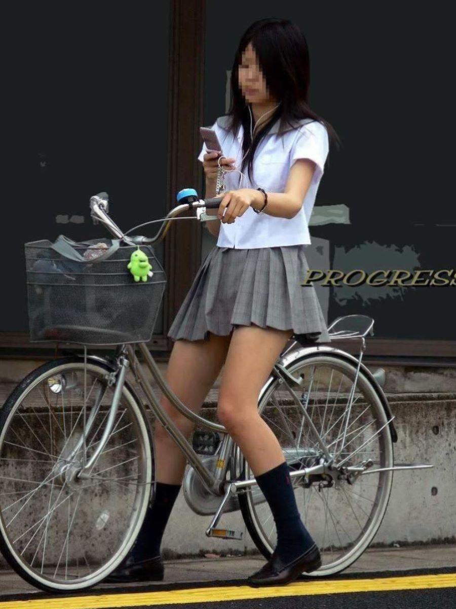 自転車通学 ミニスカ JK画像 32