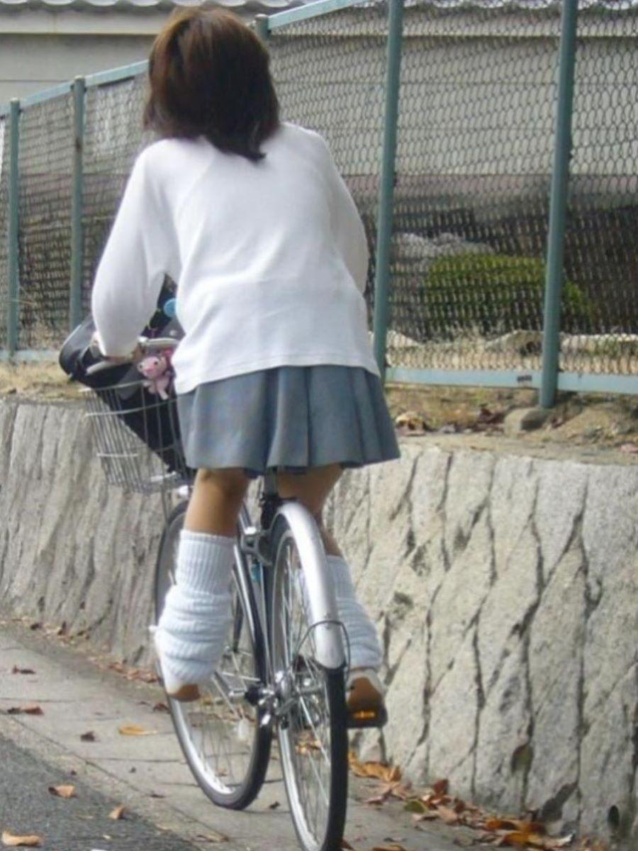 自転車通学 ミニスカ JK画像 40
