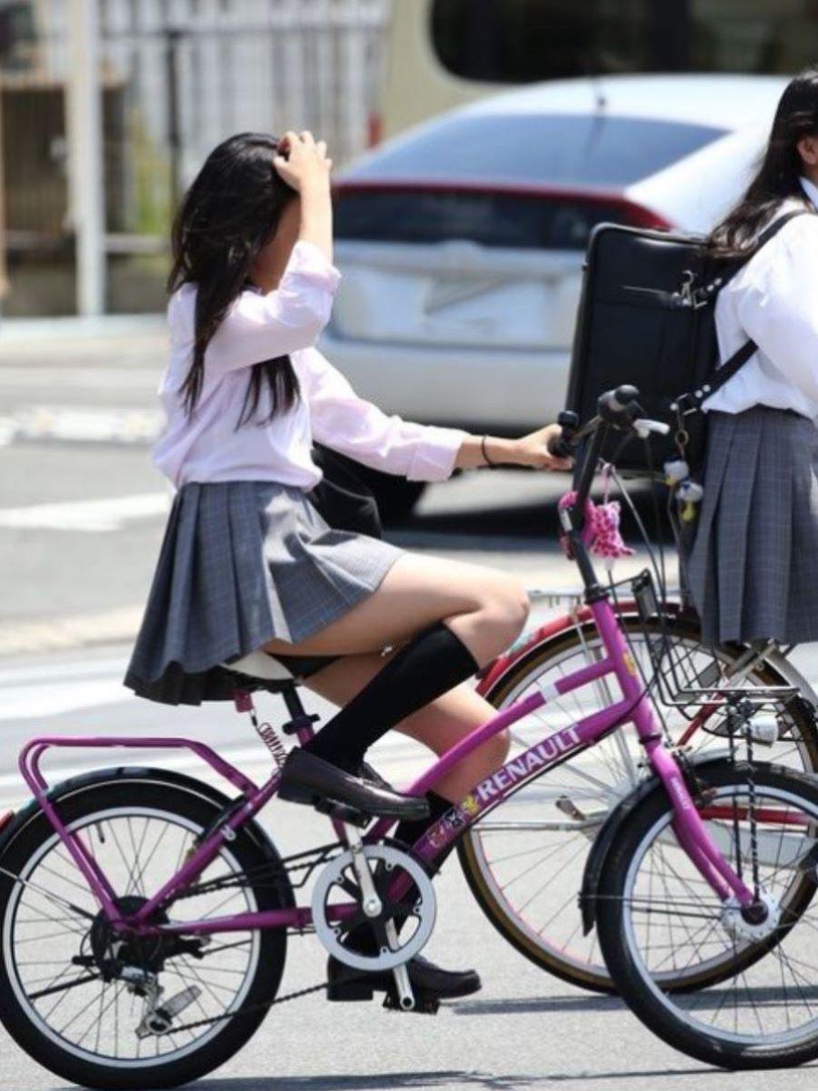 自転車通学 ミニスカ JK画像 42