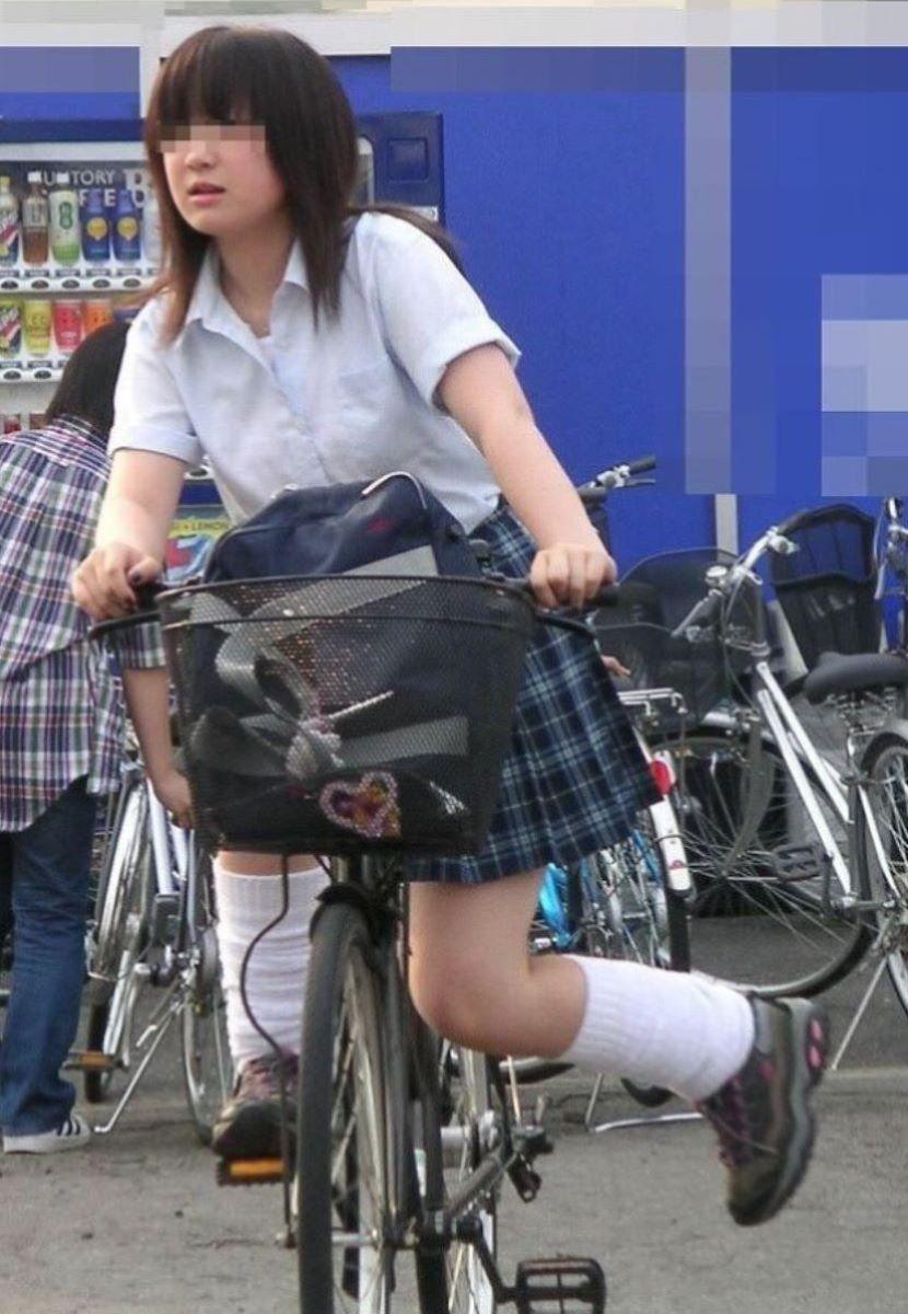 自転車通学 ミニスカ JK画像 44