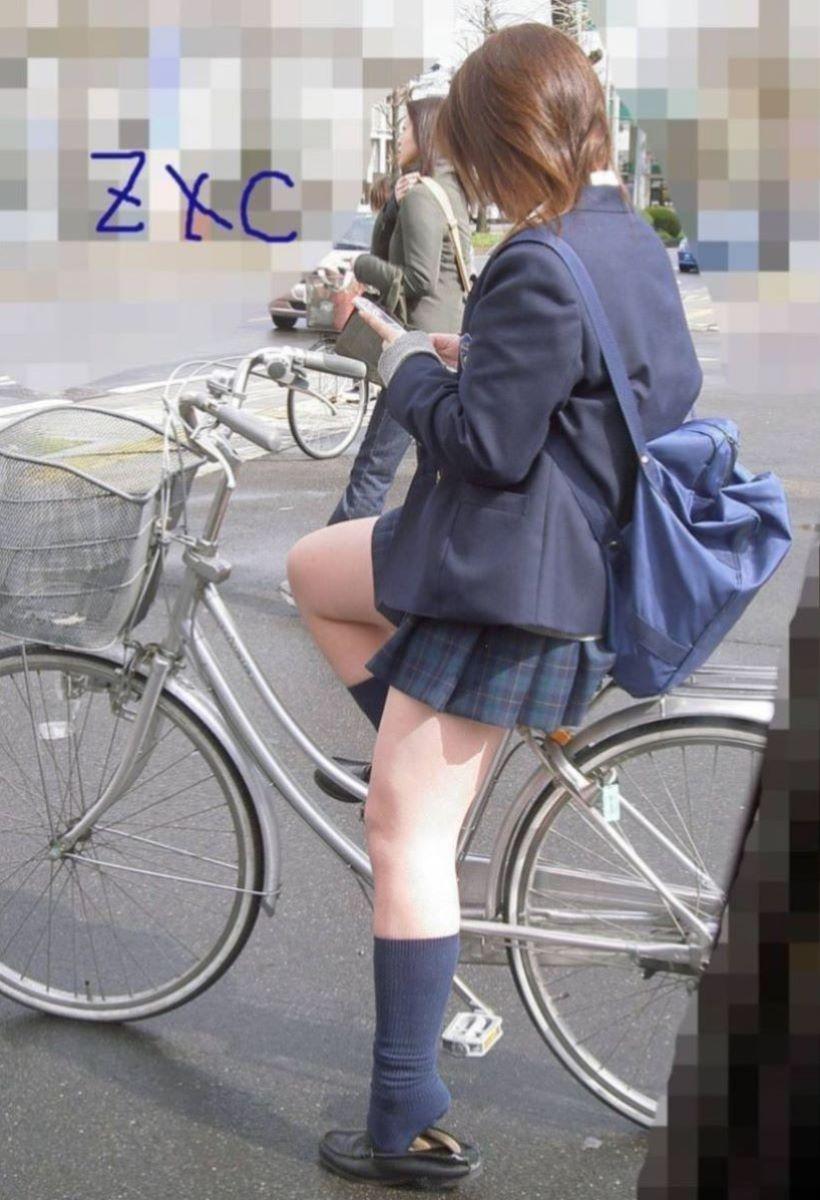 自転車通学 ミニスカ JK画像 45