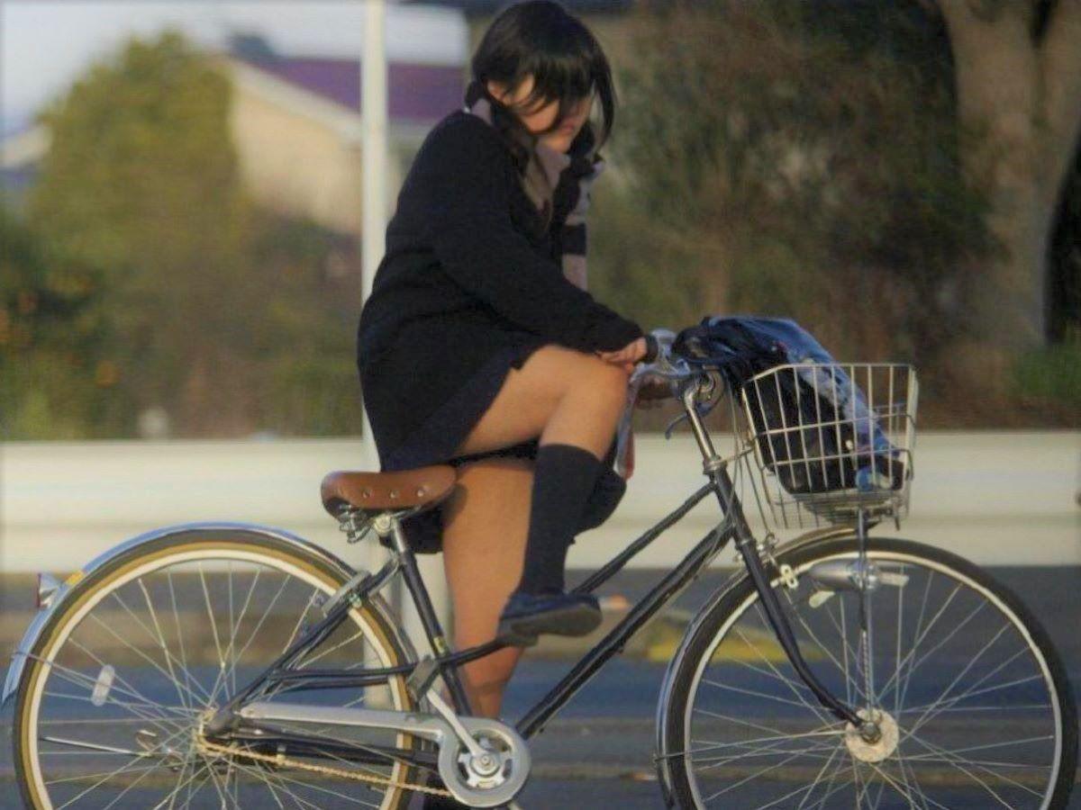 自転車通学 ミニスカ JK画像 46