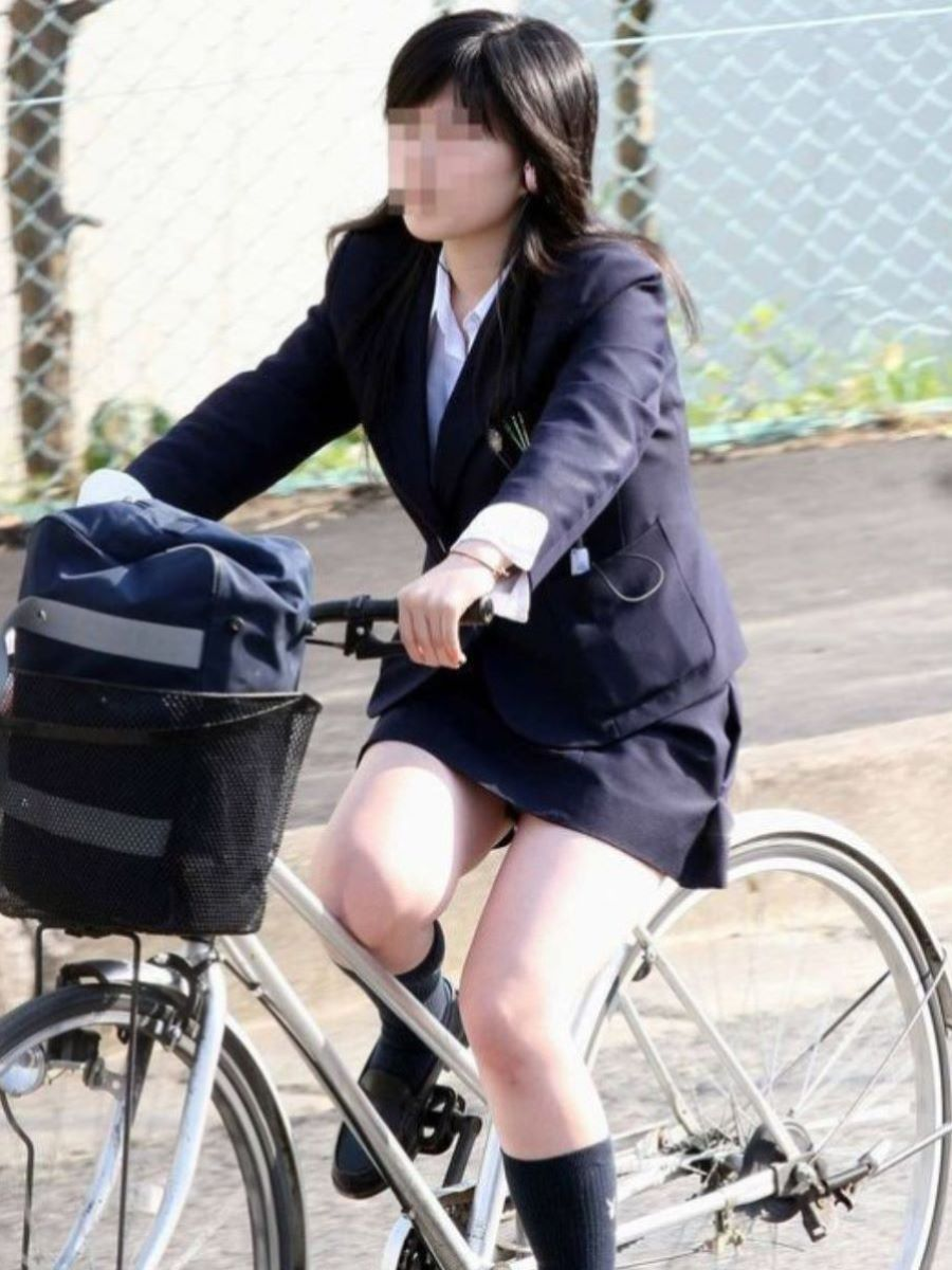 自転車通学 ミニスカ JK画像 47