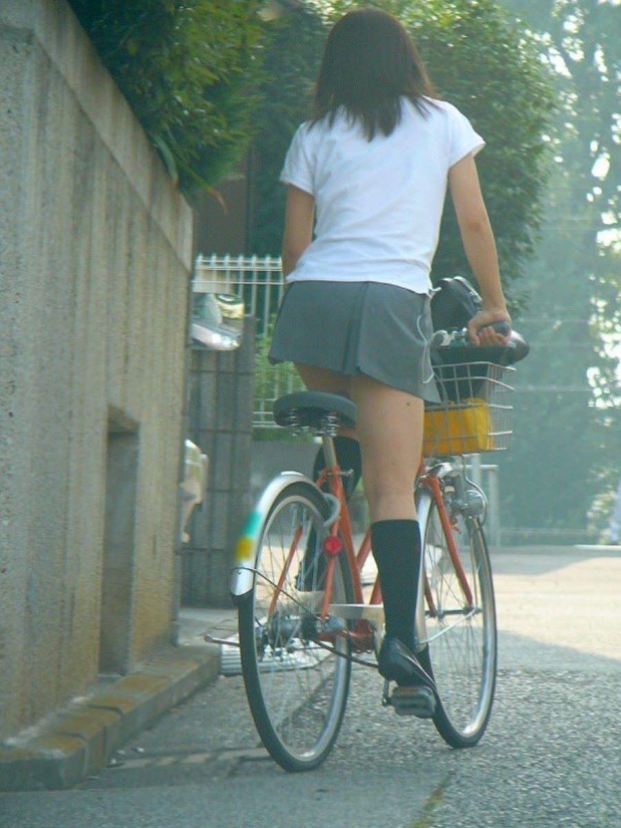 自転車通学 ミニスカ JK画像 49