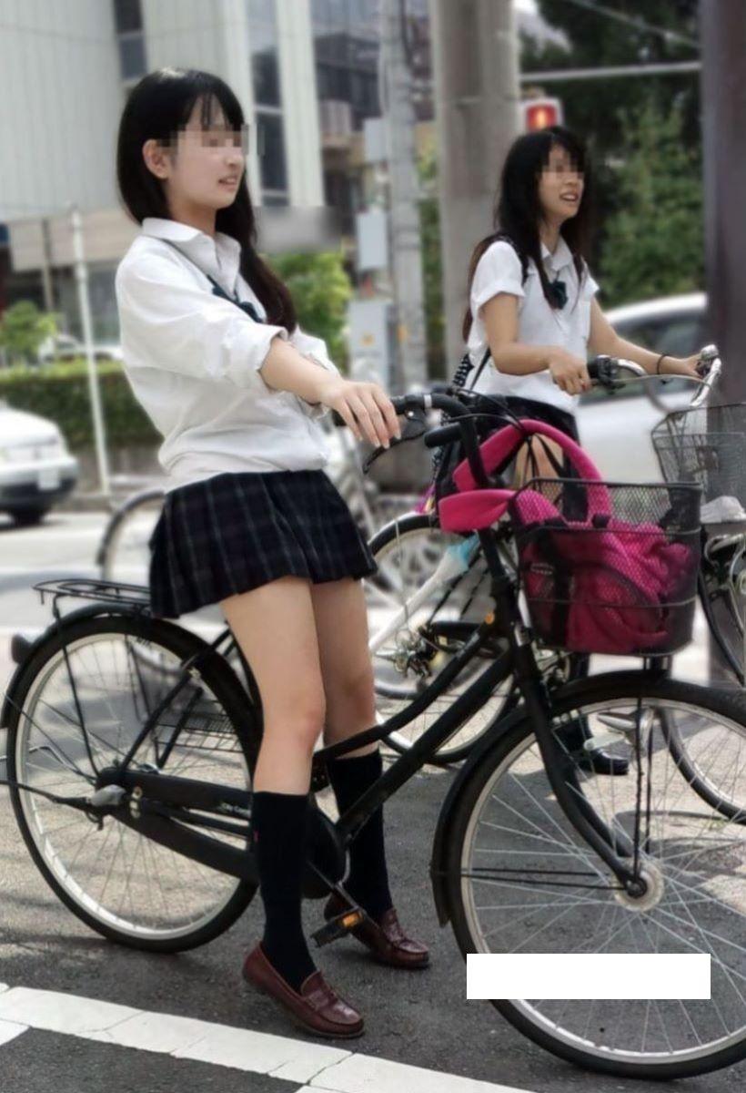 自転車通学 ミニスカ JK画像 54
