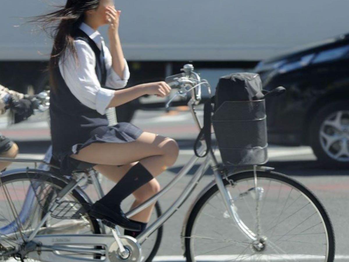 自転車通学 ミニスカ JK画像 55