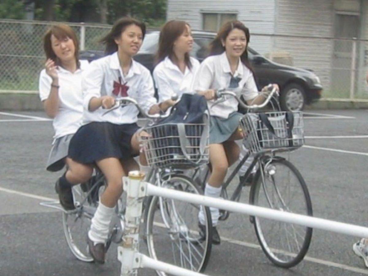 自転車通学 ミニスカ JK画像 59