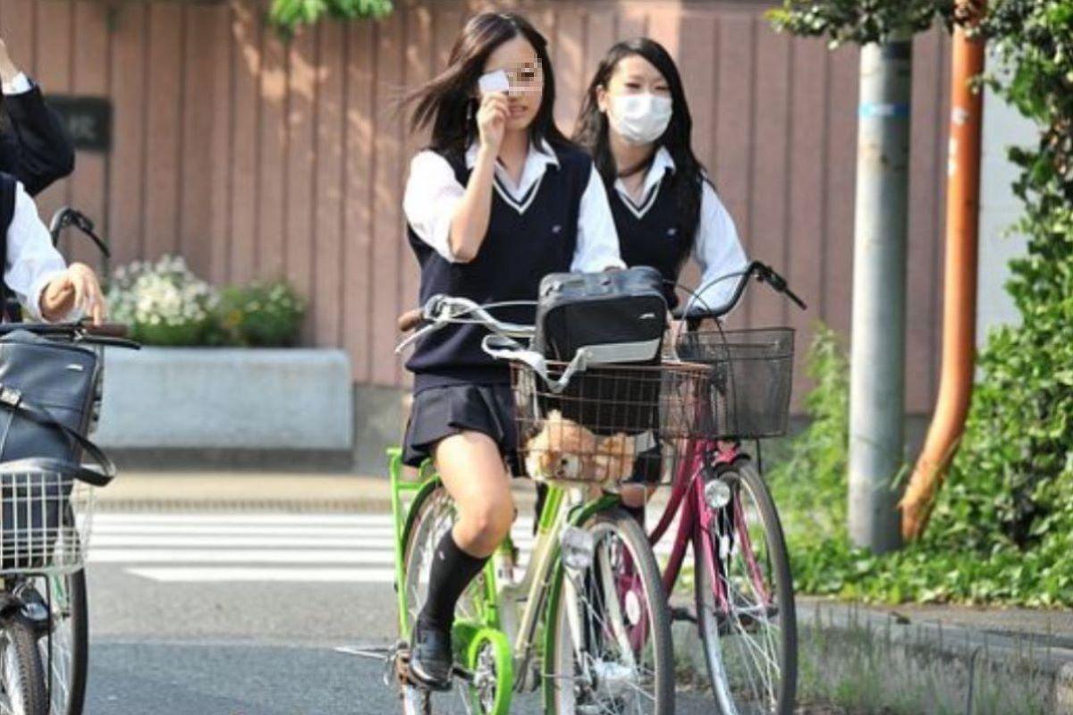 自転車通学 ミニスカ JK画像 65