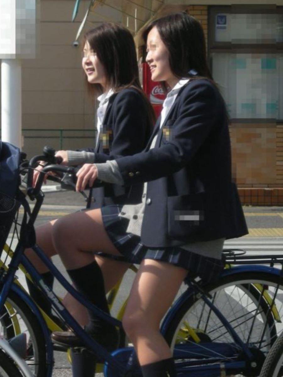 自転車通学 ミニスカ JK画像 66