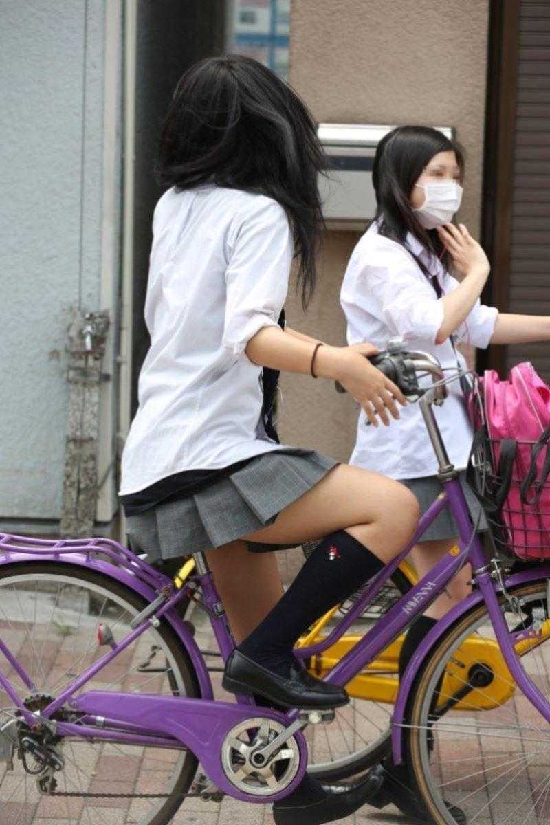 自転車通学 ミニスカ JK画像 69