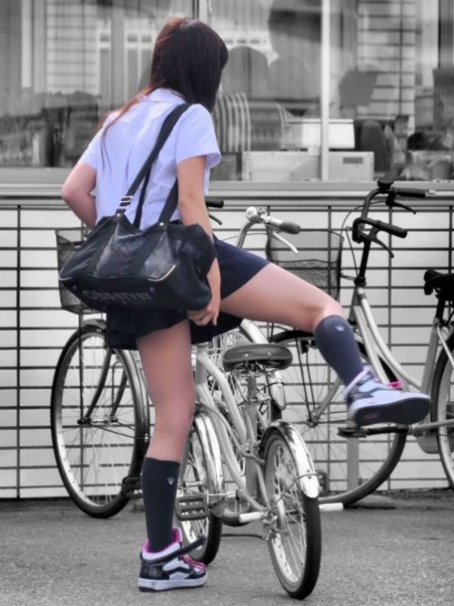 自転車通学 ミニスカ JK画像 70