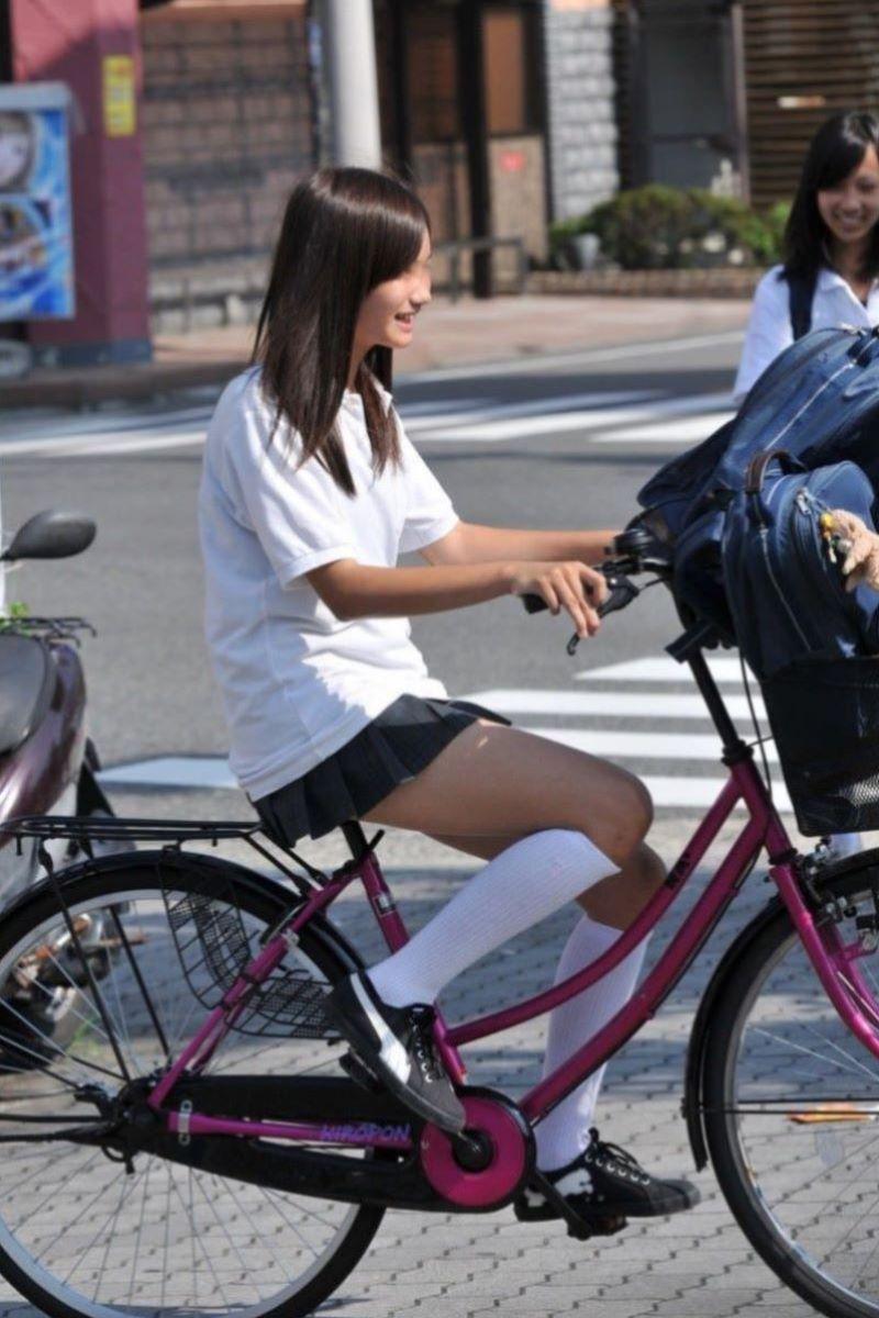 自転車通学 ミニスカ JK画像 71