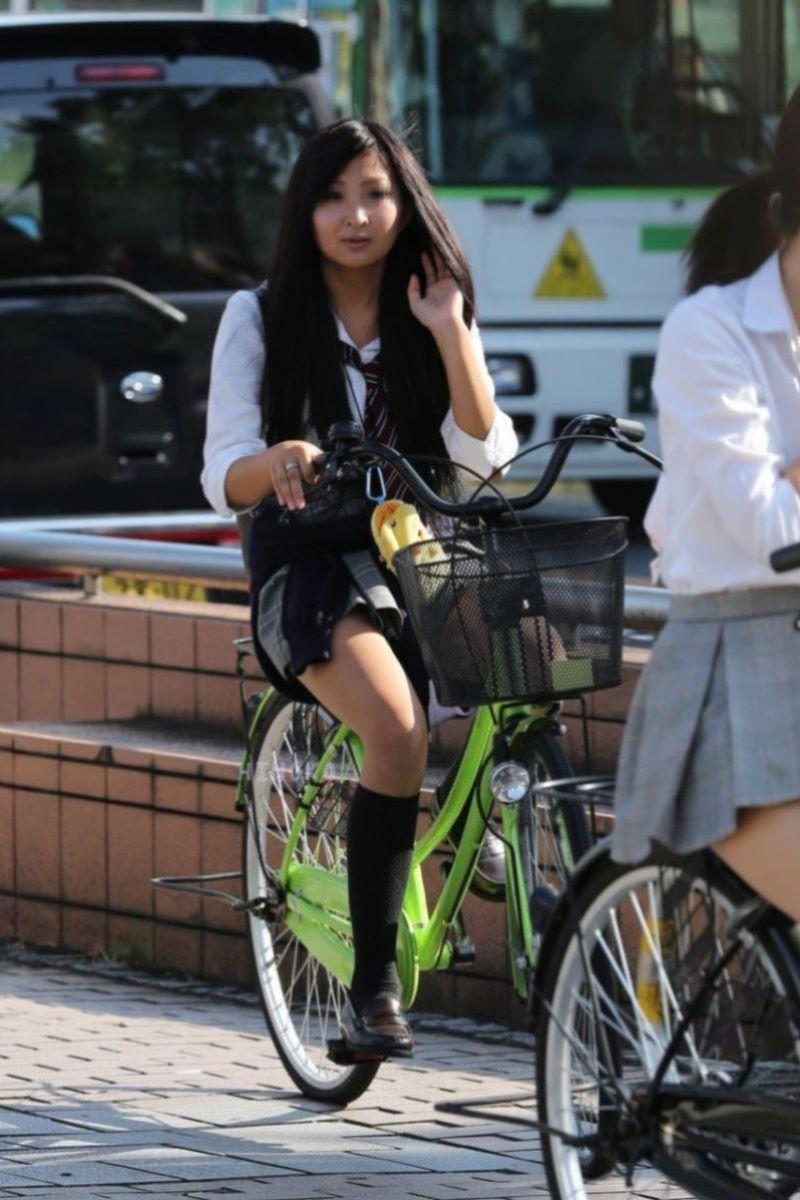 自転車通学 ミニスカ JK画像 73