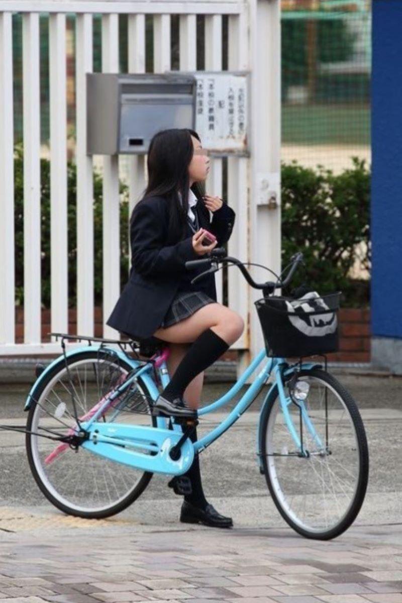 自転車通学 ミニスカ JK画像 75