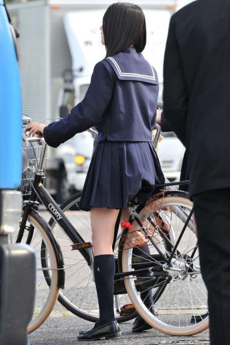 自転車通学 ミニスカ JK画像 78