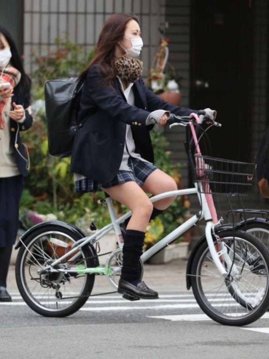 自転車通学 ミニスカ JK画像 79