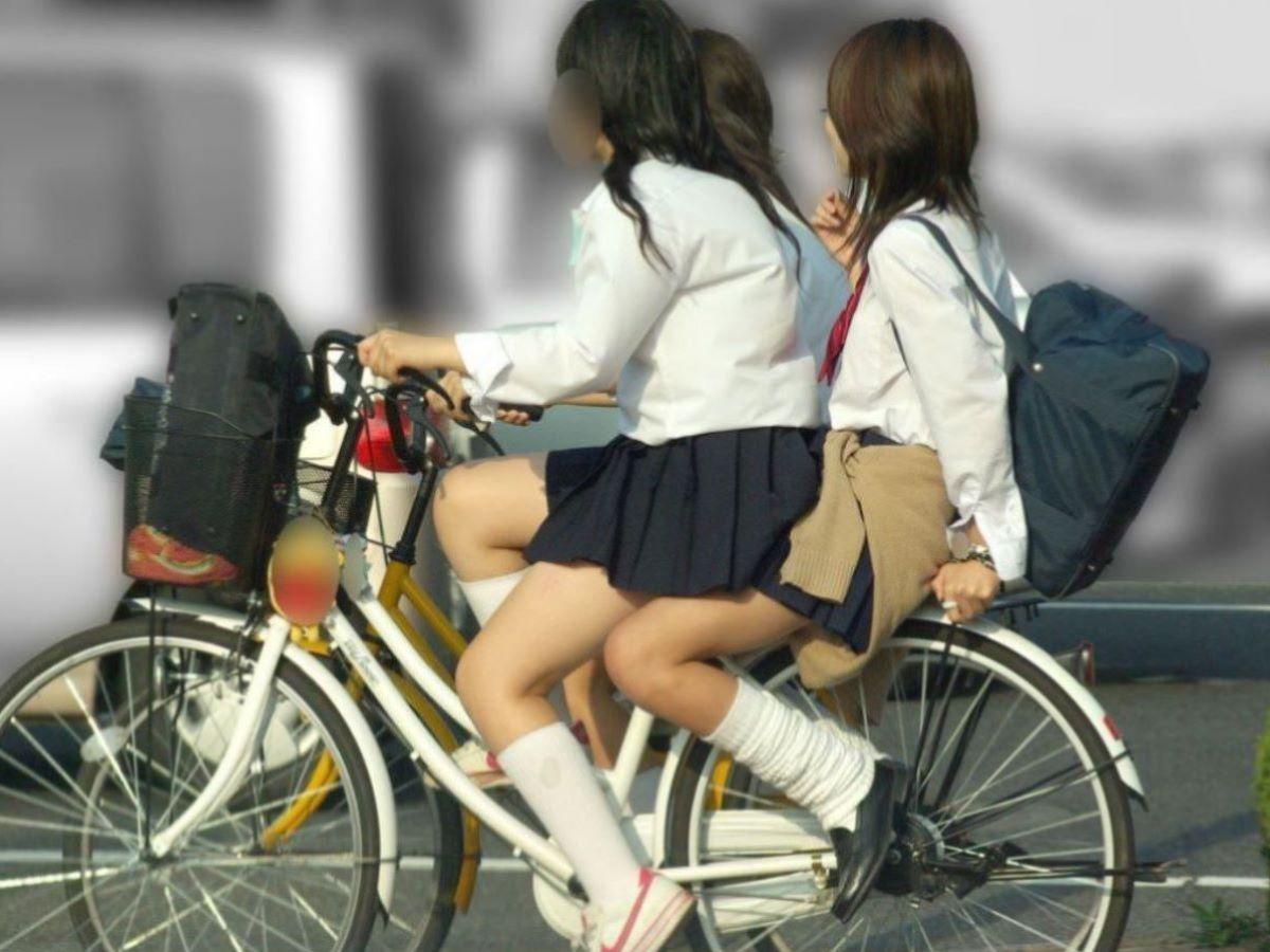 自転車通学 ミニスカ JK画像 95