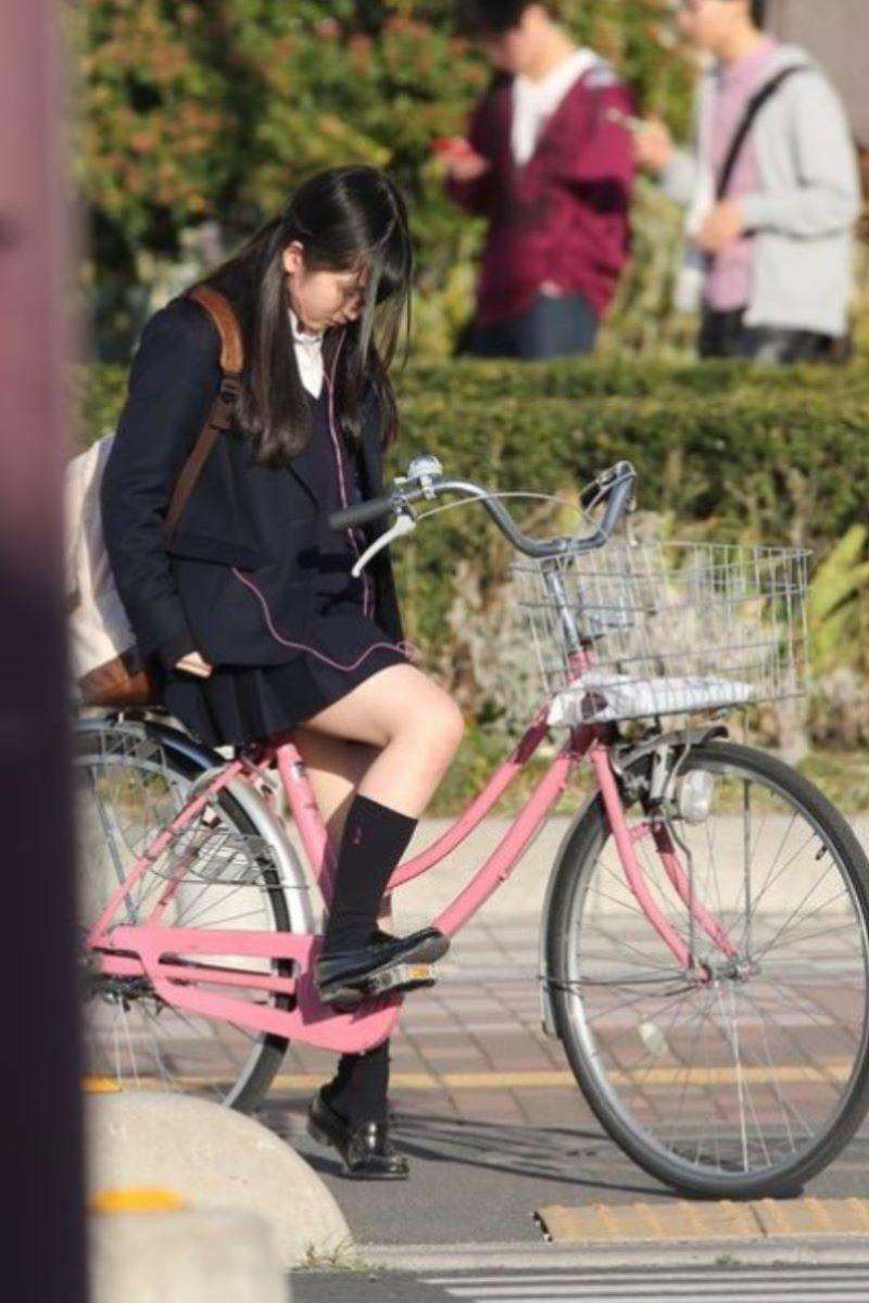 自転車通学 ミニスカ JK画像 96