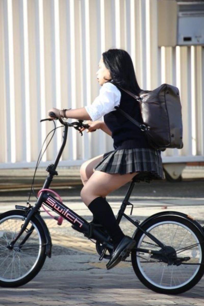 自転車通学 ミニスカ JK画像 106