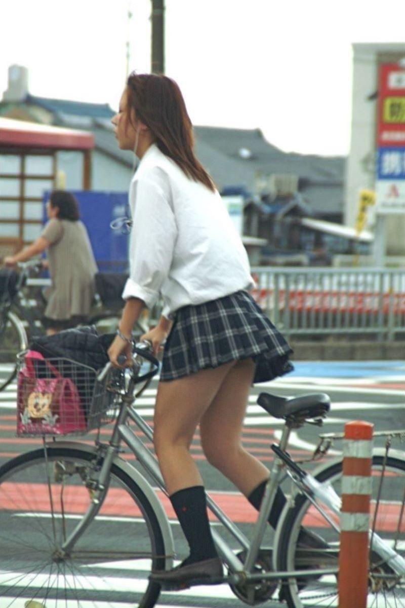 自転車通学 ミニスカ JK画像 115