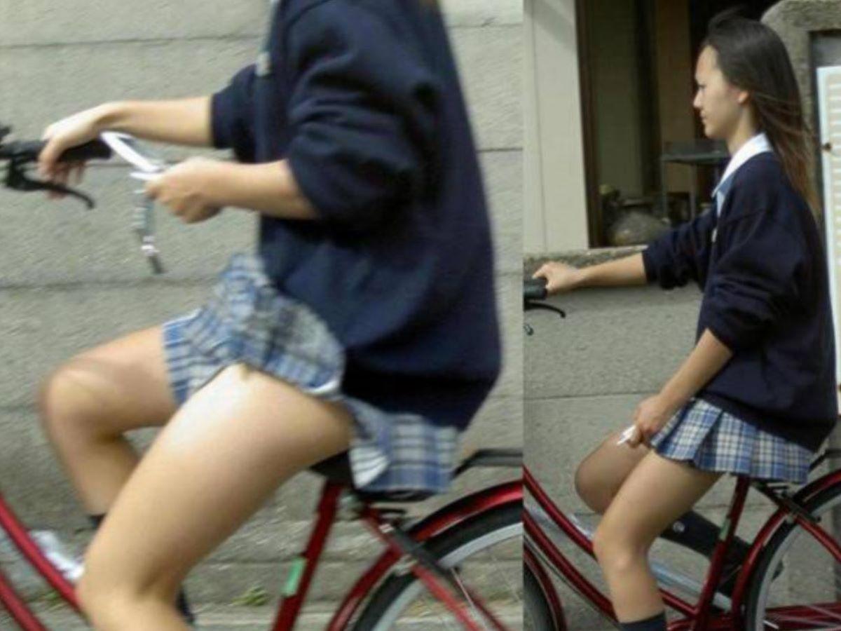 自転車通学 ミニスカ JK画像 119