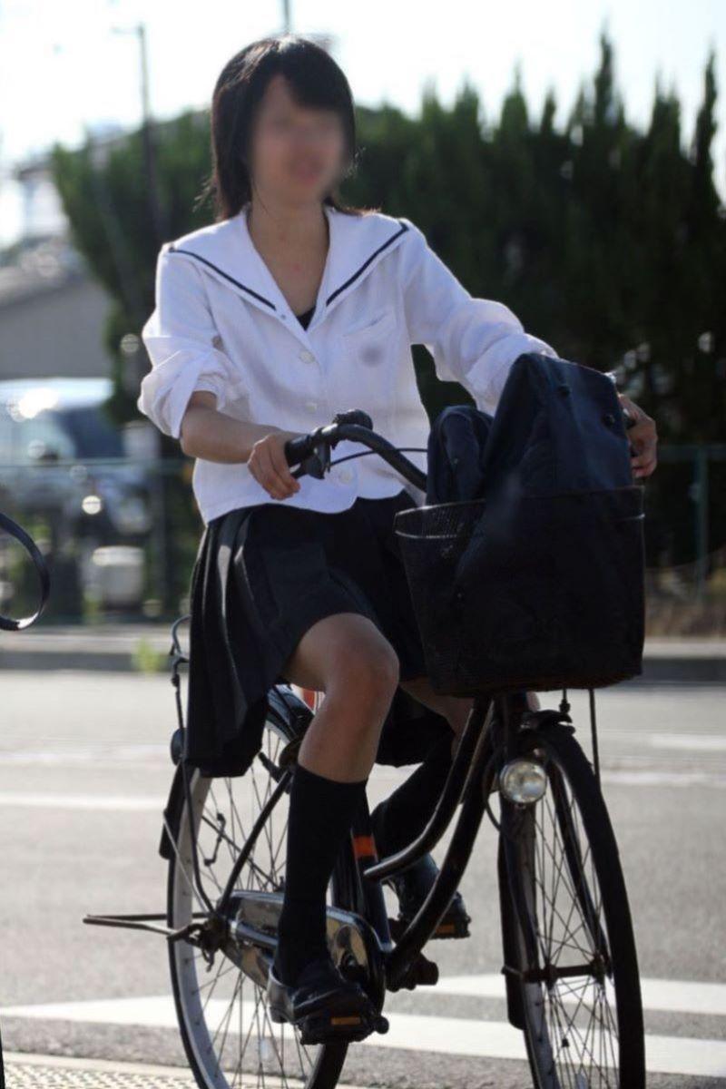 自転車通学 ミニスカ JK画像 122