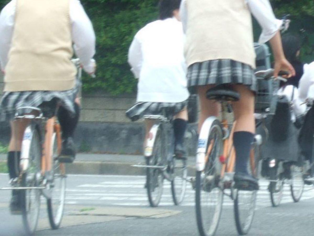 自転車通学 ミニスカ JK画像 127