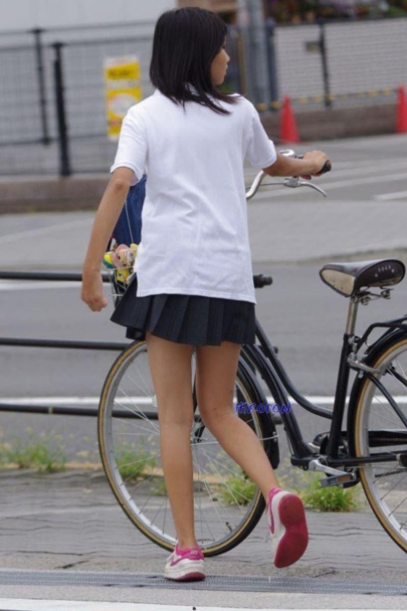 自転車通学 ミニスカ JK画像 130