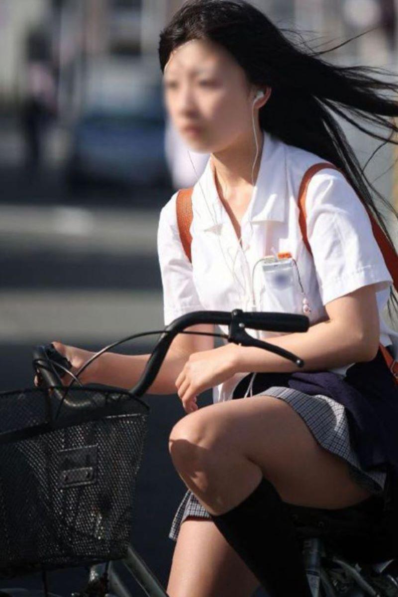 自転車通学 ミニスカ JK画像 131