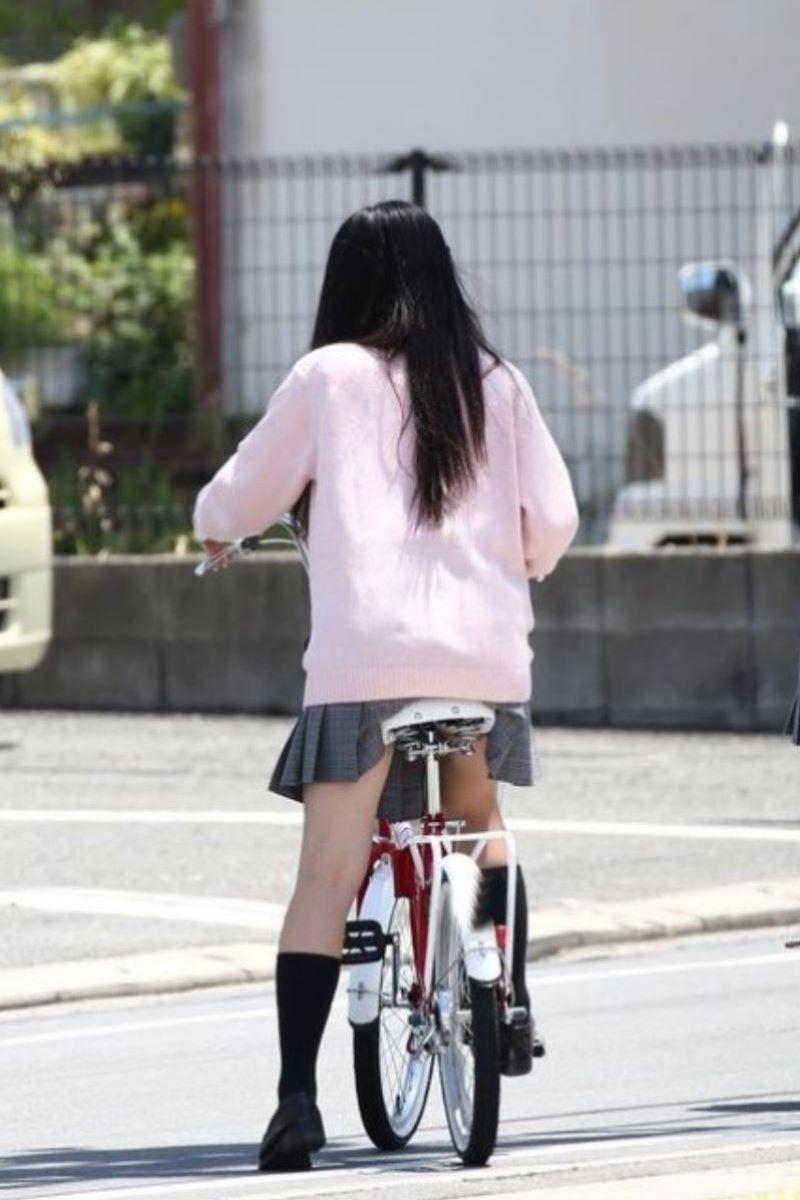 自転車通学 ミニスカ JK画像 133