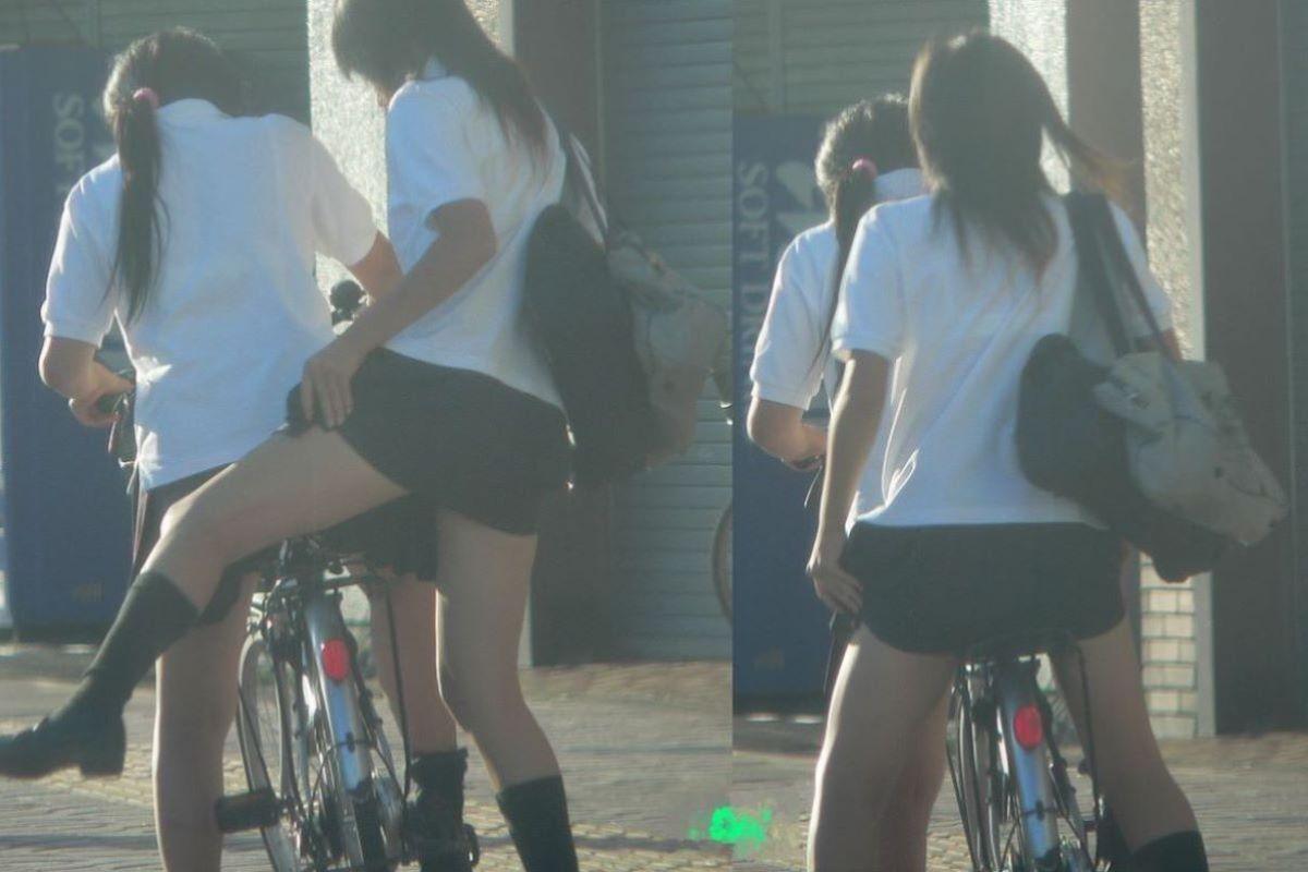 自転車通学 ミニスカ JK画像 134