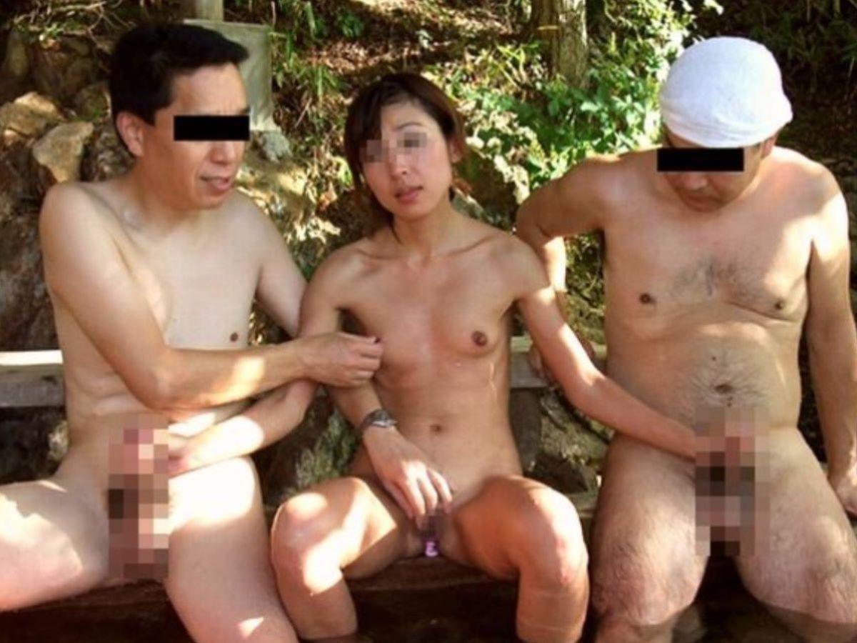 混浴 露天風呂 素人 熟女 ヌード画像 44